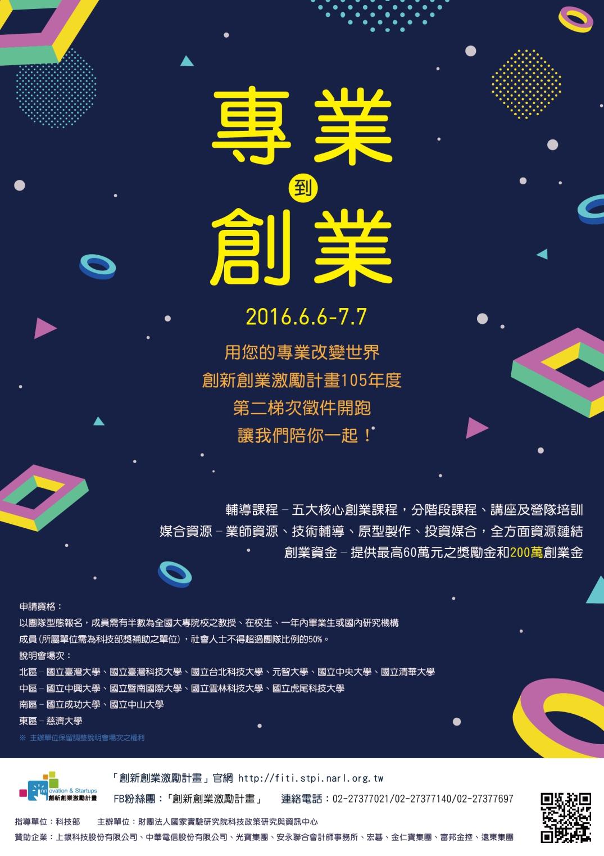 105創新創業激勵計畫(FITI)第二梯次徵件海報