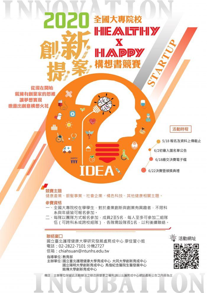 2020全國大專院校Healthy x Happy創新提案構想書競賽EDM